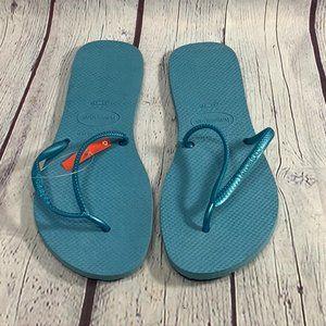 Havaianas Blue Rubber Flexible Slim Strap Flip Flo